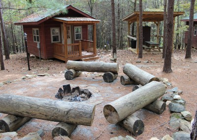 Each group of cabins has its own fire pit